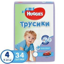 Huggies Подгузники-трусики для мальчиков 9-14 кг (размер 4) 34 шт Подгузники и пеленки