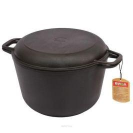 Кастрюля чугунная 3,0 л с крышкой-сковородой БИОЛ