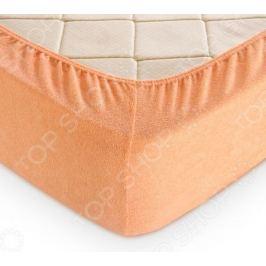 Простыня на резинке ТексДизайн махровая. Цвет: персиковый