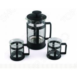Набор: чайник заварочный с поршнем и 2 кружки для кофе Gipfel GLACIER-SEVILLA 7440