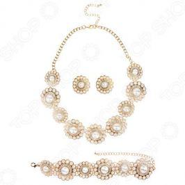 Ожерелье с браслетом и серьгами Laura Amatti «Ночное очарование»
