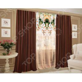 Комплект: фототюль и шторы ТамиТекс «Шоколадный ажур»