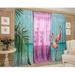Фотокомплект штор и тюля ТамиТекс «Благородный фламинго»