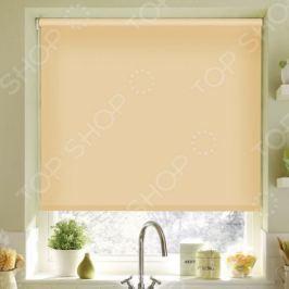 Рулонная штора Эскар однотонная. Цвет: светло-абрикосовый