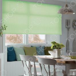 Рулонная штора Эскар однотонная. Цвет: светло-зеленый
