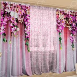 Фотокомплект: тюль и шторы ТамиТекс «Ламбрекен из цветов»