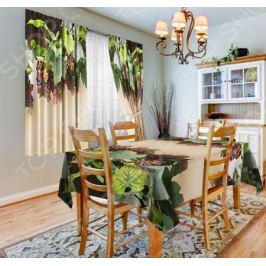 Набор для кухни: шторы, тюль и скатерть «Виноград»