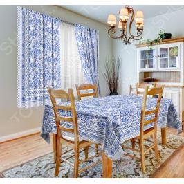 Набор для кухни: шторы, тюль и скатерть «Гжель»