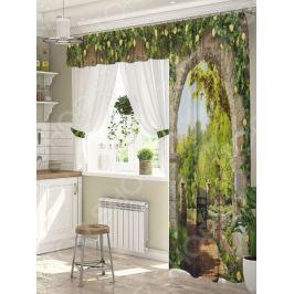 Комплект штор для окна с балконом ТамиТекс «Цветочный свод»