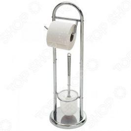 Стойка напольная с держателем для туалетной бумаги и ершиком Рыжий кот B0813