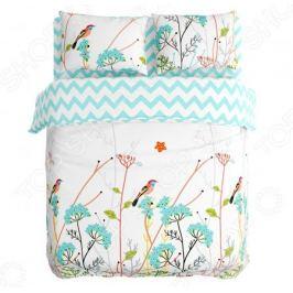 Комплект постельного белья Сирень «Травы и птицы»