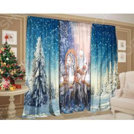 Комплект: шторы и тюль ТамиТекс «Дед Мороз на тройке»
