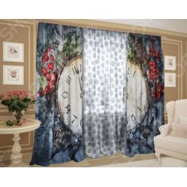 Комплект: шторы и тюль ТамиТекс «Заснеженная полночь»