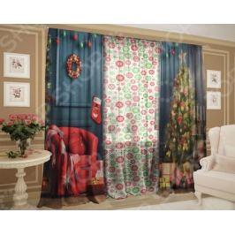 Комплект: шторы и тюль ТамиТекс «Рождественский декор»