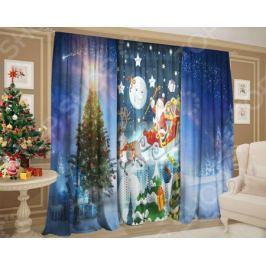 Комплект: шторы и тюль ТамиТекс «Сказочные Санта Клаус»