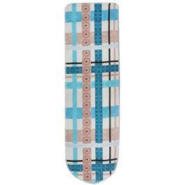 Чехол для гладильной доски Eva, с поролоном, цвет: бежевый, голубой, коричневый, 120 х 38 см