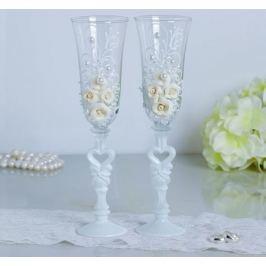 Набор свадебных бокалов «Розы», с лепниной и бисером, белый