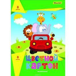 Silwerhof Цветной картон Друзья на машине 8 листов