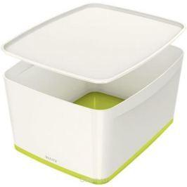 Leitz Короб архивный MyBox с крышкой большой цвет белый зеленый