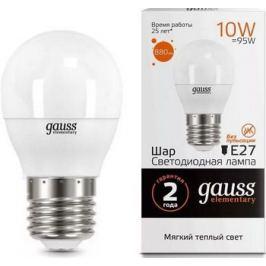 Лампа GAUSS LED Elementary Шар 10 W E 27 3000 K 53210
