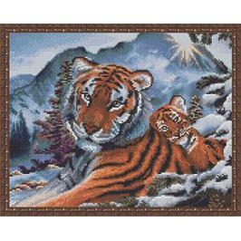 Алмазная мозайка ВанГогВоМне Тигрица с малышом в горах. EW 10234