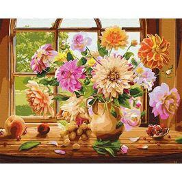 Картина по номерам ВанГогВоМне Георгины на окне ZX 21772